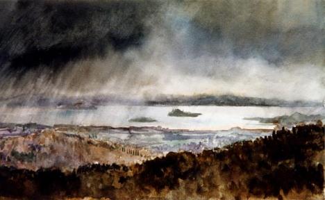 pioggia sul lago trasimeno
