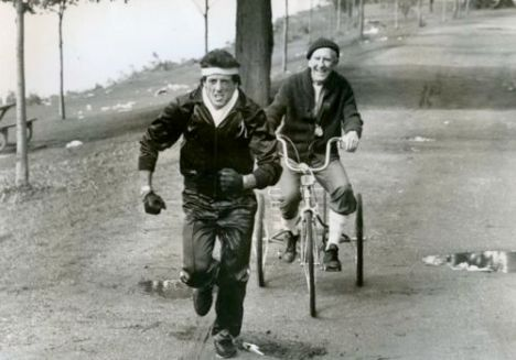 Stallone and Meredith on a bike