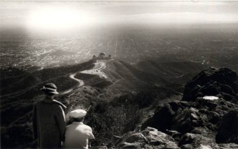 Looking over Griffith Observatory and Los Angeles from Mount Hollywood, 1936.