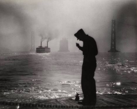 The San Francisco-Oakland Bay Bridge during construction (1933-1936). By amateur photographer L.A. Sanchez.